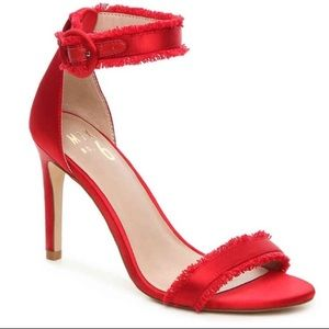 Mix No. 6 Rayane Red Frayed Peep-Toe Heels
